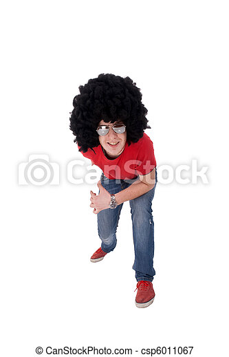 casual man with big black wig - csp6011067