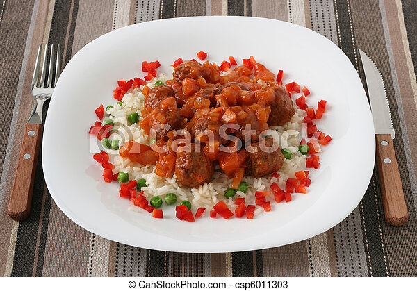 meatballs with boiled rice with pea - csp6011303