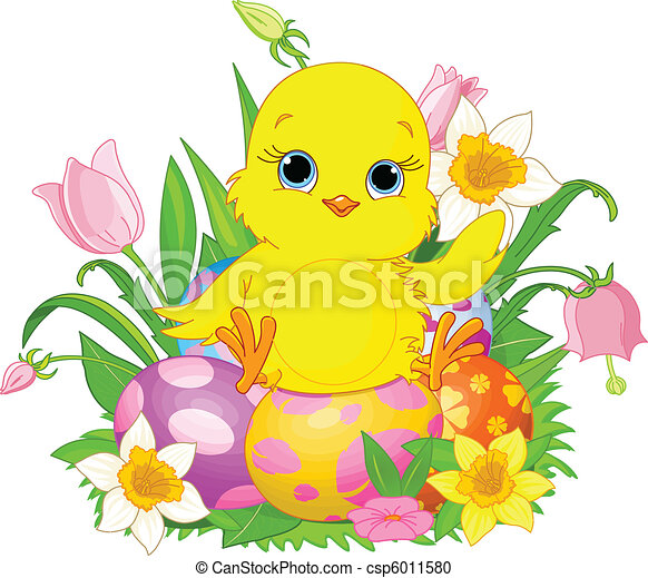 Happy Easter chick - csp6011580