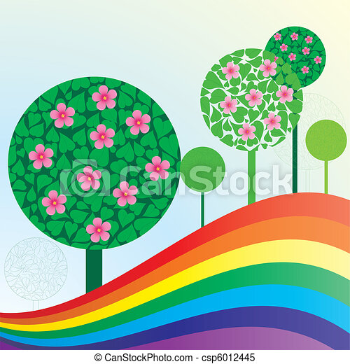 Spring or summer background with meadow, trees and rainbow, vector illustration - csp6012445