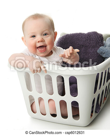 Baby in a laundry basket - csp6012631