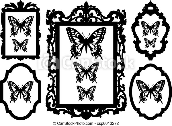 butterflies in picture frames - csp6013272