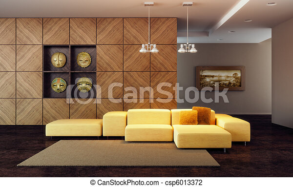 luxury lounge room 3d render - csp6013372