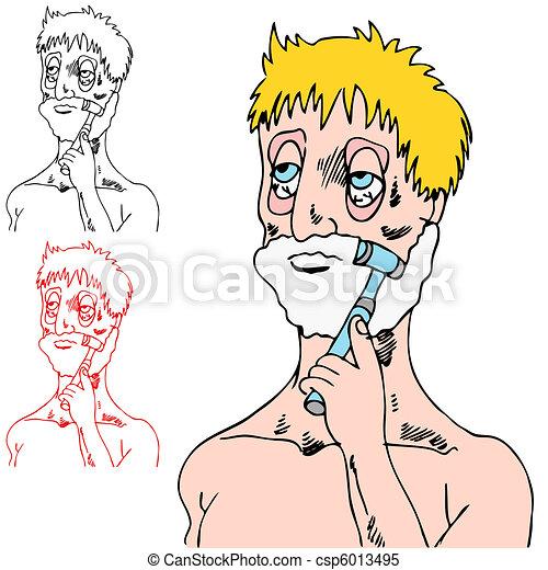 Tired Man Shaving - csp6013495