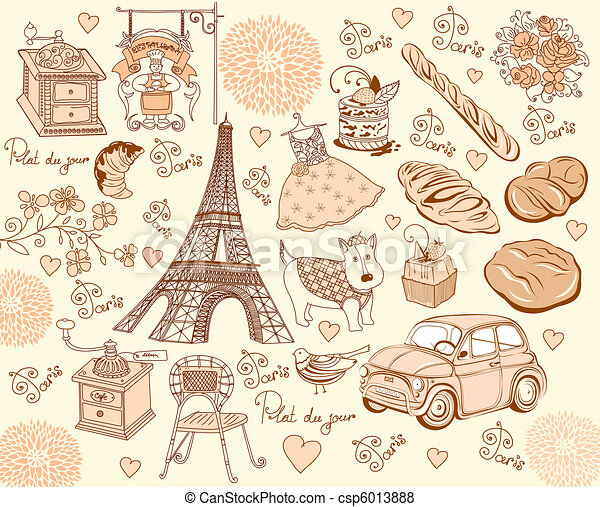 Collection symbols of Paris. Hand d - csp6013888