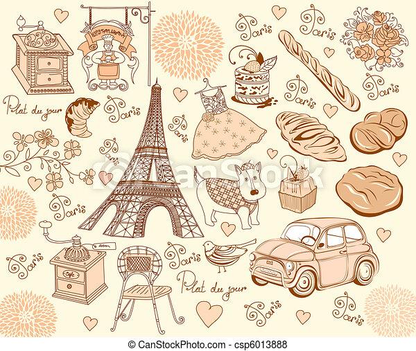 Collection symbols of Paris. Hand d - csp6013888