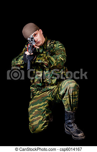 Soldier with weapon  - csp6014167