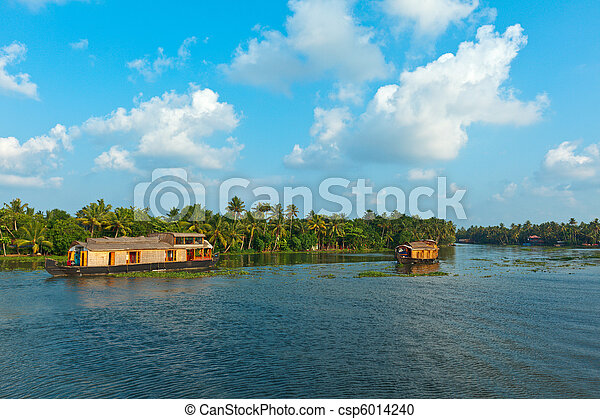 Houseboat on Kerala backwaters. Ker - csp6014240