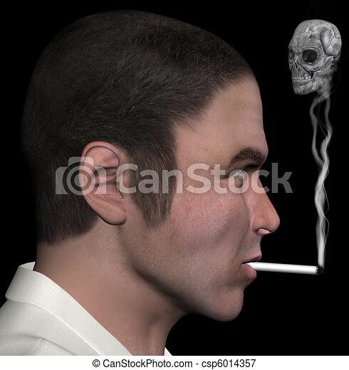 man and smoke skull 3d illustration - csp6014357