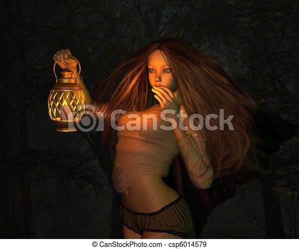 Fairy in a Dark Forest - csp6014579