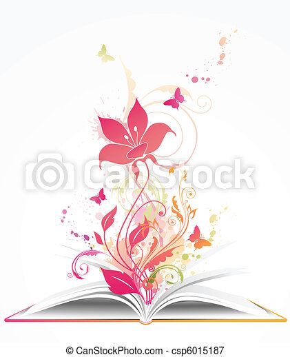 open book and  pink flower - csp6015187