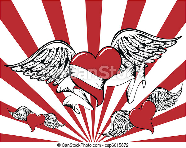 winged heart background7 - csp6015872