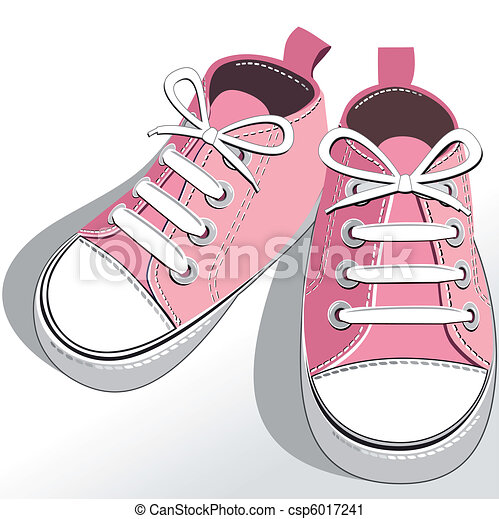vektor clip art von rosa kinder schuhe rosa childrens oder junger csp6017241 suchen. Black Bedroom Furniture Sets. Home Design Ideas