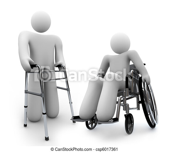 Disabilities - Disabled Person in Wheelchair and One wth Walker - csp6017361