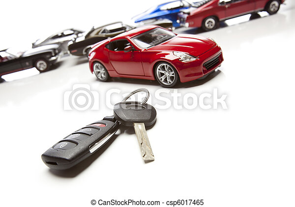 Car Keys and Several Sports Cars on White - csp6017465