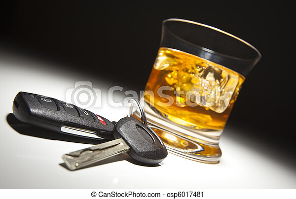 Alcoholic Drink and Car Keys - csp6017481
