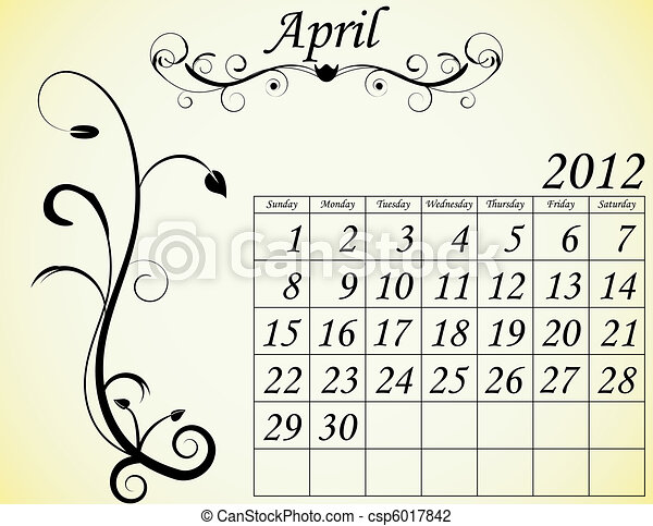 2012 Calendar Set 2 Decorative Flourish April - csp6017842
