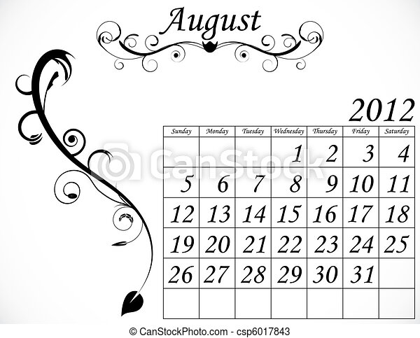 2012 Calendar Set 2 Decorative Flourish August - csp6017843