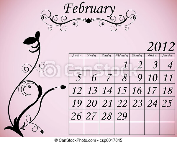 2012 Calendar Set 2 Decorative Flourish February - csp6017845
