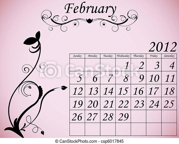 2012 Calendar Set 2 Decorative Flourish February - csp6017845