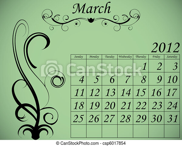 2012 Calendar Set 2 Decorative Flourish March - csp6017854