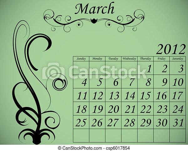 2012 Calendar Set 2 Decorative Flourish March - csp6017854