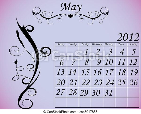 2012 Calendar Set 2 Decorative Flourish May - csp6017855