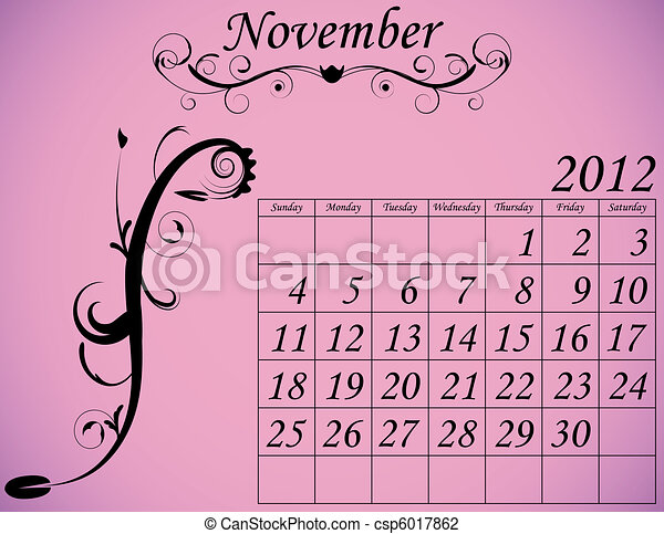 2012 Calendar Set 2 Decorative Flourish November - csp6017862