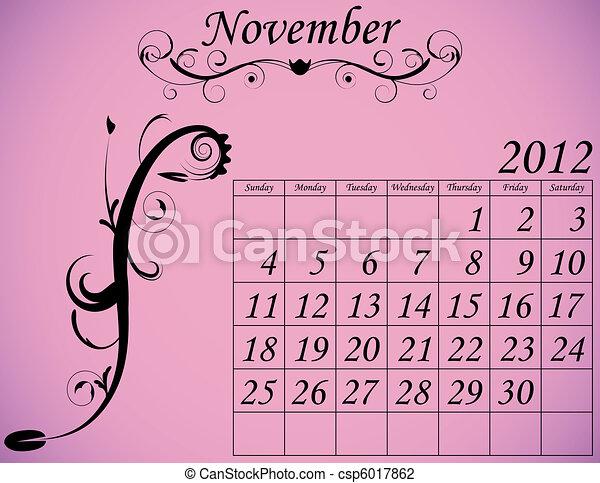 2012 Calendar Set 2 Decorative Flourish November - csp6017862