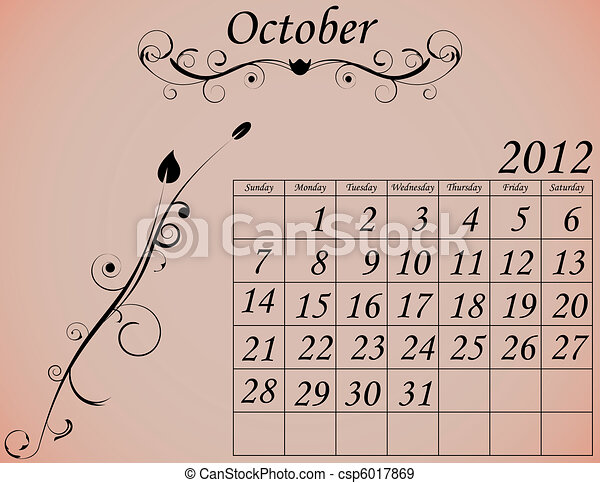 2012 Calendar Set 2 Decorative Flourish October - csp6017869