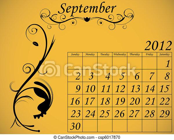2012 Calendar Set 2 Decorative Flourish September - csp6017870
