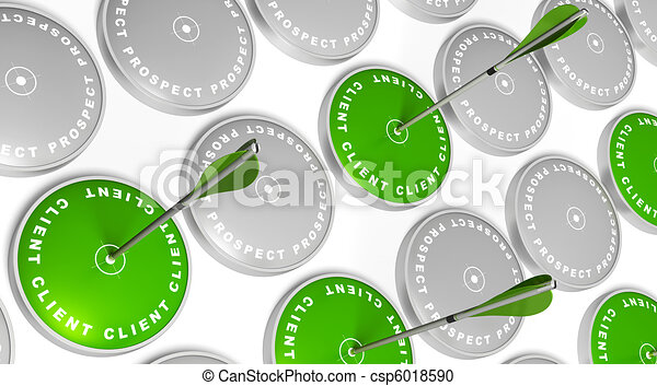 green targets with client marking, green arrows hitting the center and grey targets with prospect marking - csp6018590