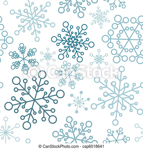 christmas seamless pattern with simple snowflakes - csp6018641