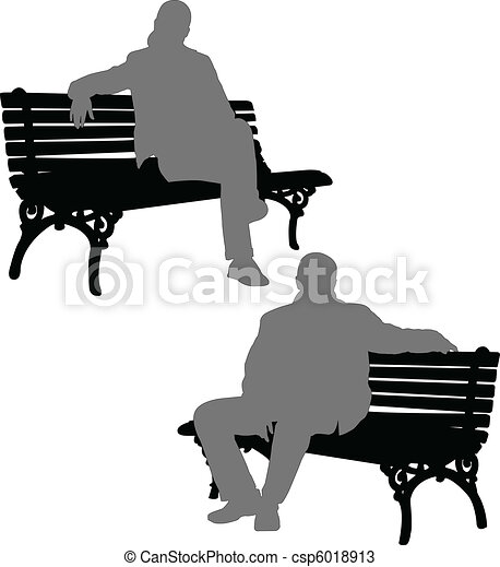man and woman sitting on the bench - csp6018913