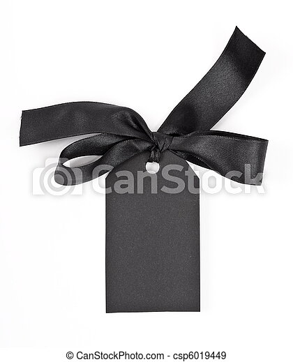 Black gift tag tied with a bow of red satin ribbon - csp6019449