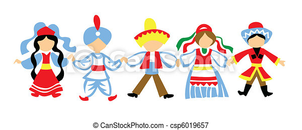 vector silhouette dancing children on white background - csp6019657