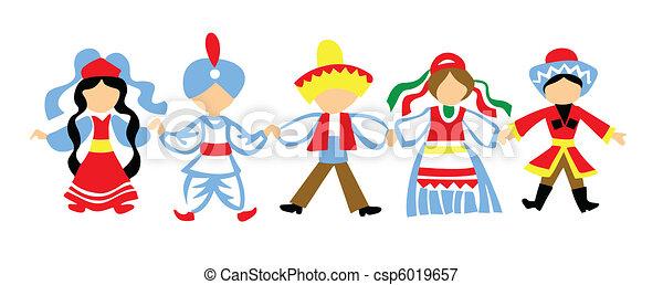 vector silhouette dancing children on white background - csp6019657