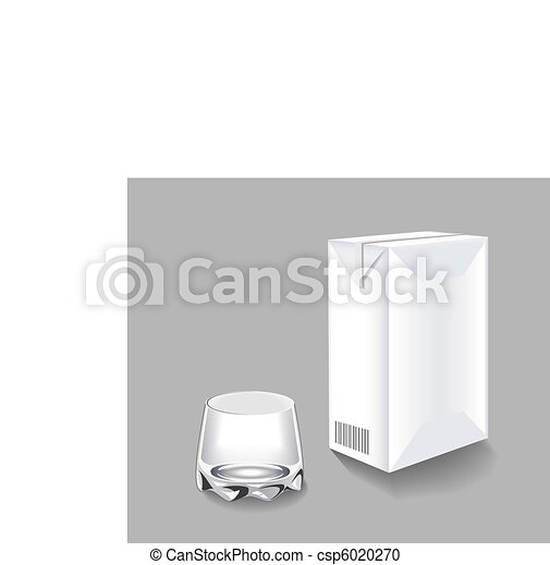 Packaging of milk and a glass. - csp6020270
