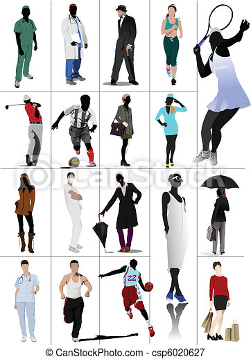Colored people in action. Silhouet - csp6020627