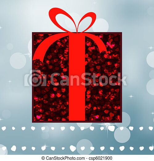 Red gift on a silver shine background. EPS 8 - csp6021900