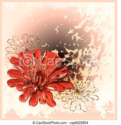 abstract background with red flower - csp6022854