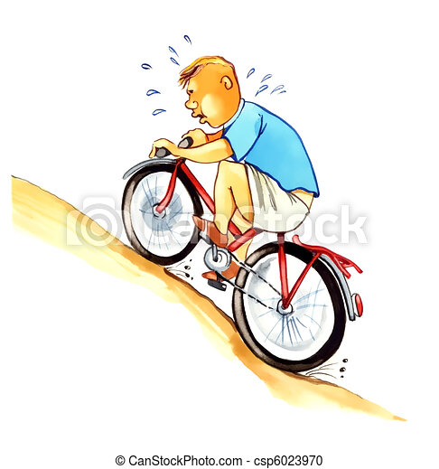 overweight boy on bicycle - csp6023970