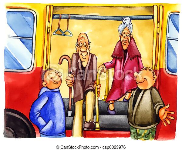 kind boys on bus stop - csp6023976