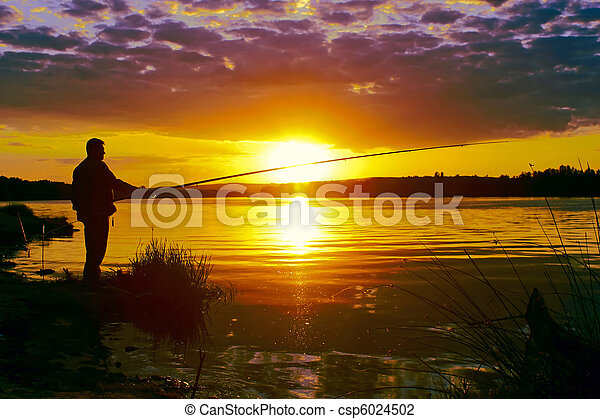 In the evening on fishing - csp6024502