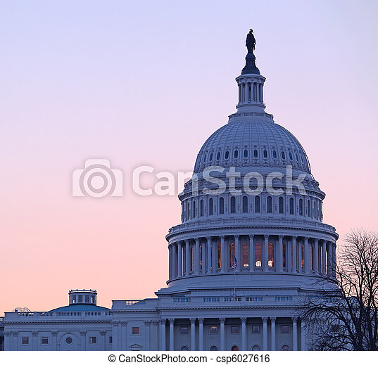 Sunrise behind the dome of the Capitol in DC - csp6027616
