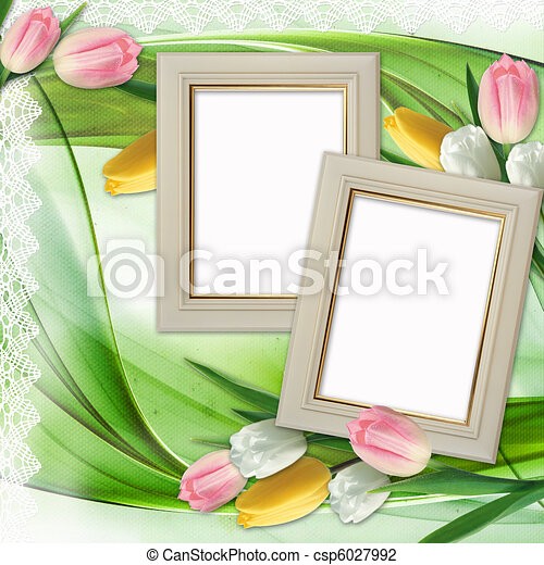 Three picture frames and tulips flowers  - csp6027992
