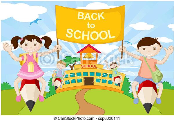Kids on Pencil going to School - csp6028141