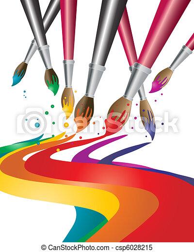Vecteur clipart de pinceaux une illustration de artistes peinture c - Nettoyer des pinceaux de peinture ...