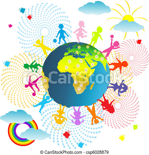 Kids abstract background with planet Earth and children - csp6028879