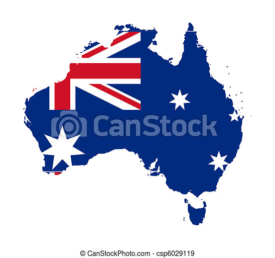 Australia flag on map - csp6029119